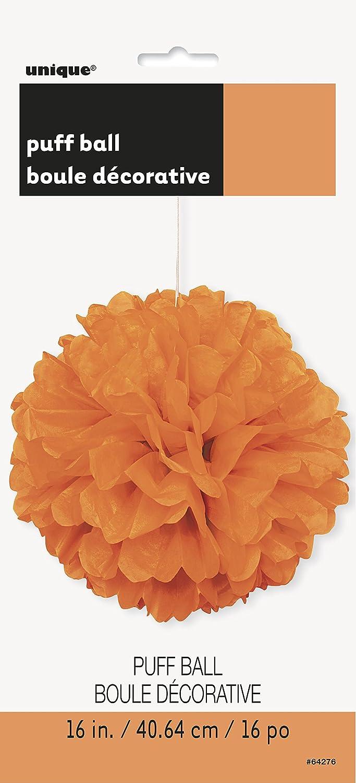 Unique Party 64276 Pompon de D/écoration en Papier de Soie Orange 40 cm