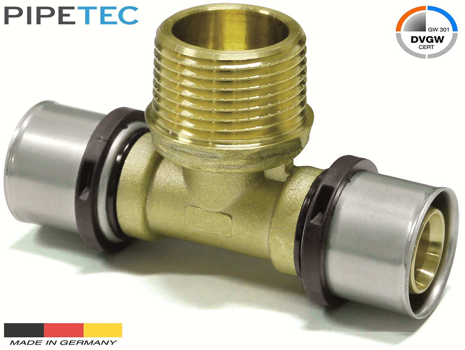 TH Pipetec Press-T-St/ück mit Au/ßengewinde 26x3mm 1-26x3mm DVGW