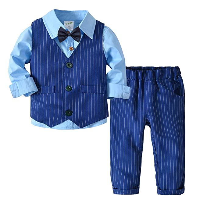89fd3e921 Fairy Baby 4PC Baby Boy Outfit Toddler Suit Cloth Set Formal Tuxedo Shirt+ Vest+