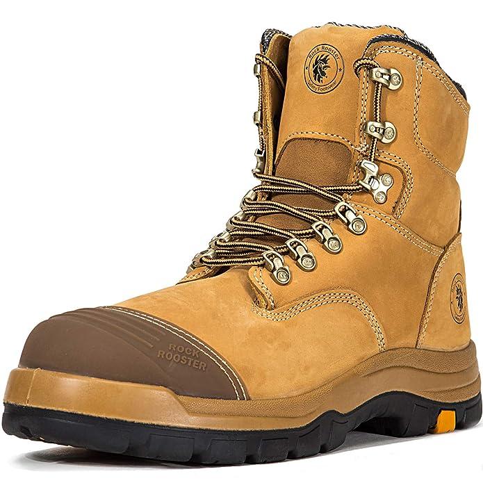 ROCKROOSTER Work Boots for Men, 8 inch, Steel Toe, Slip Resistant