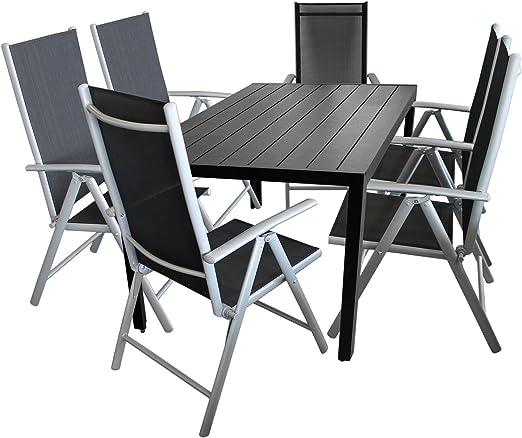 7 Pièces salon de jardin table de jardin en polywood et ...
