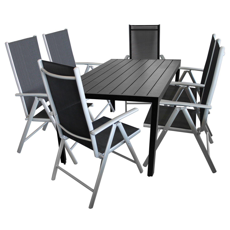 7tlg gartengarnitur balkonm bel terrassenm bel set sitzgruppe 6x hochlehner klappstuhl. Black Bedroom Furniture Sets. Home Design Ideas