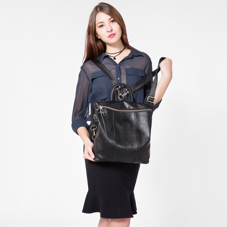 Sacs à Dos Femme en Cuir véritable Sac à Main Femmes Elégant Casual Cartable College Grande Mode Noir