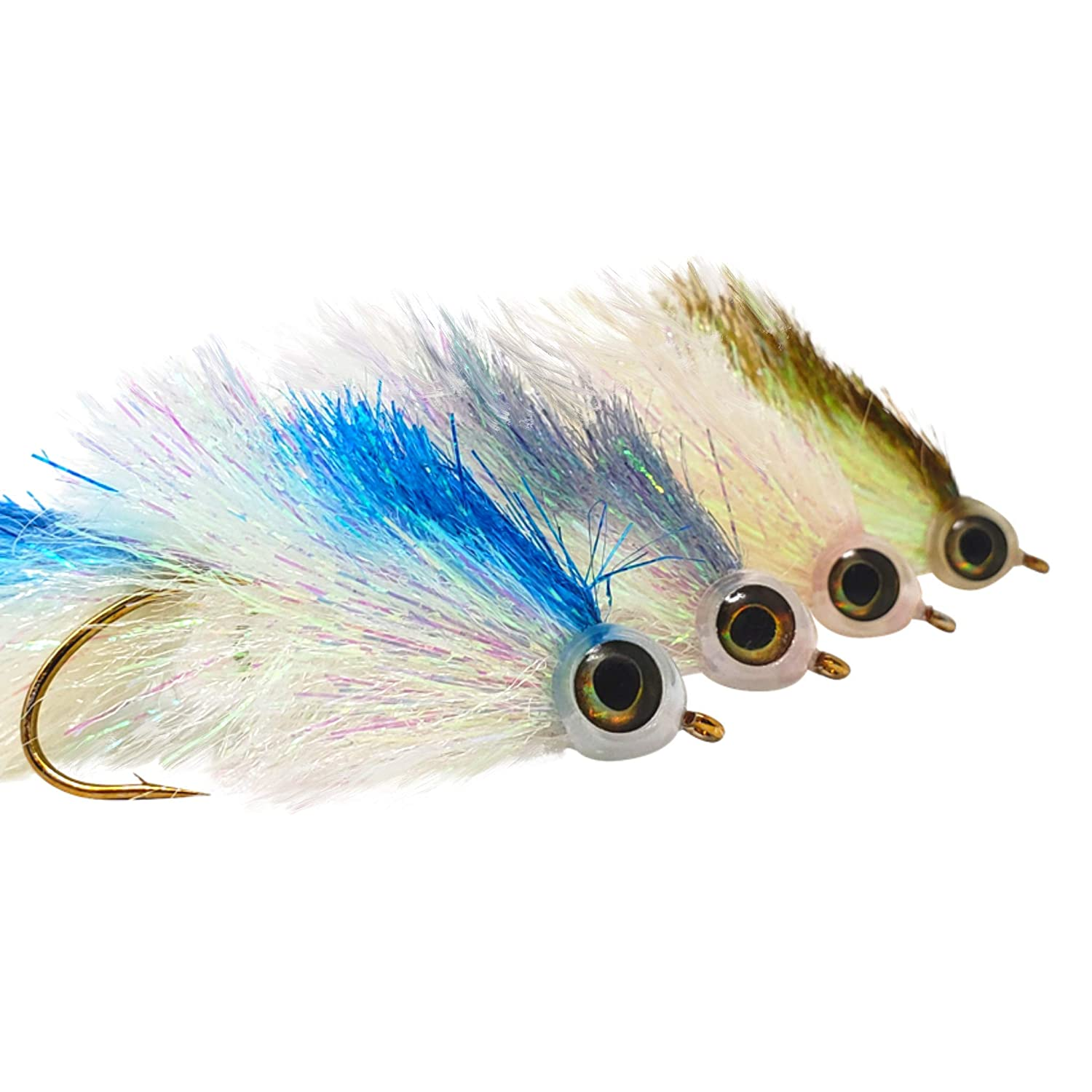 The Fly Crate Shimmering Minnow Articulated Streamer Assortment Size 2 Fly Fishing for Trout Bass Pike 4 Flies