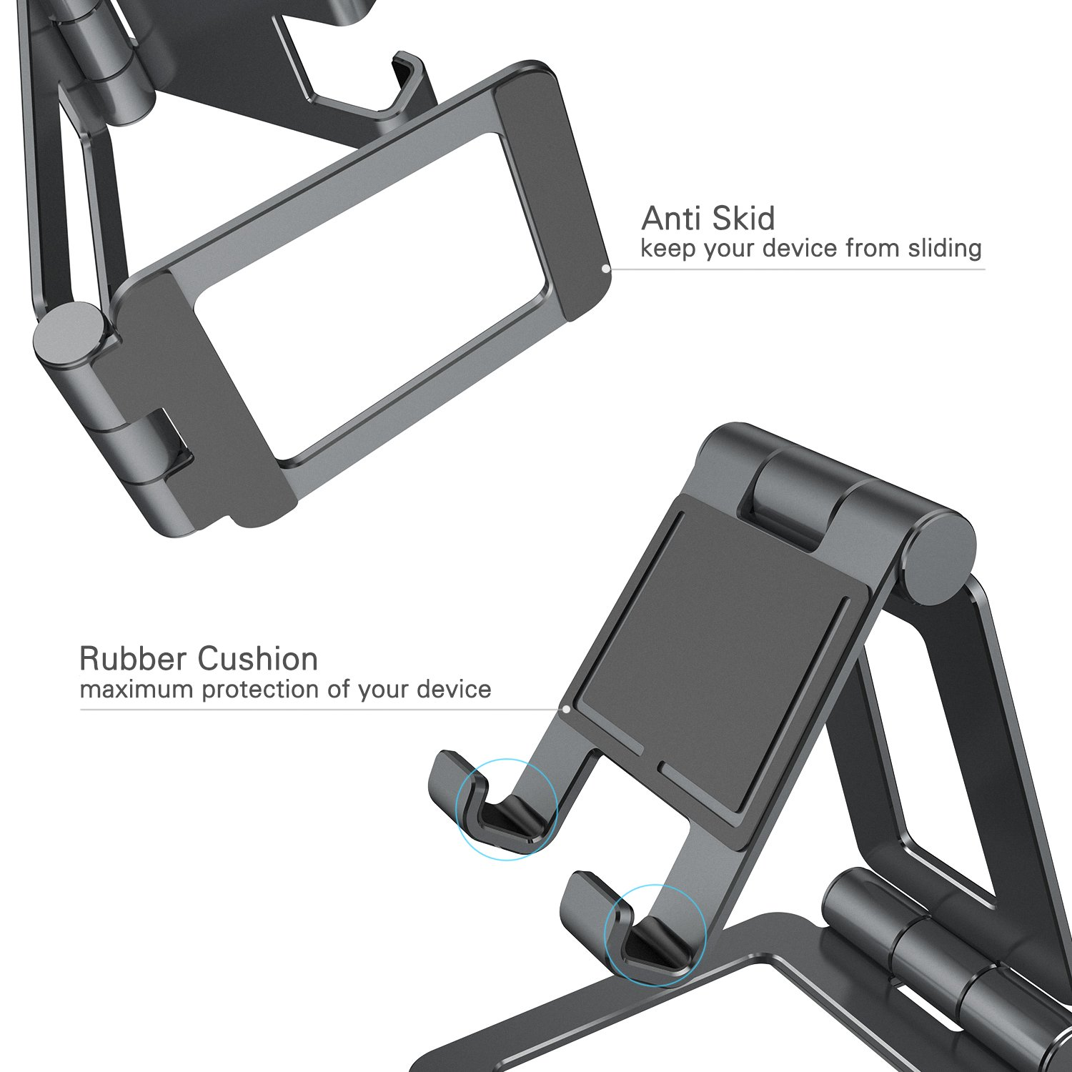 Adjustable iPad Stand, Tablet Stand Holders, Cell Phone Stands, iPhone Stand, Nintendo Switch Stand, iPad Pro Stand, iPad Mini Stands and Holders for Desk (4-13 inch) by Hi-Tech Wireless (Image #5)