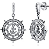 BERRICLE Rhodium Plated Sterling Silver Cubic Zirconia CZ Anchor Statement Dangle Drop Earrings