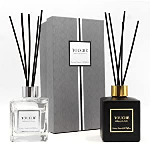 Luxury Natural Essential Oil Reed Diffuser. Long Lasting Scented Fragrance (3+ Months). Office & Home Aromatherapy, Glass Bottle, 10 Sticks. Alcohol-Free, 4oz/120ml (CLEAR, SANDALWOOD & JASMINE)
