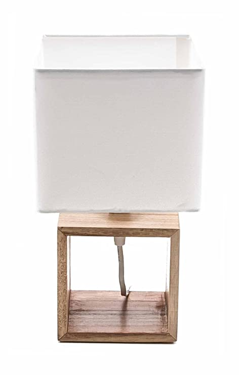 Lámpara de mesa de Grundig, madera de pie, textil de pantalla, diseño elegante
