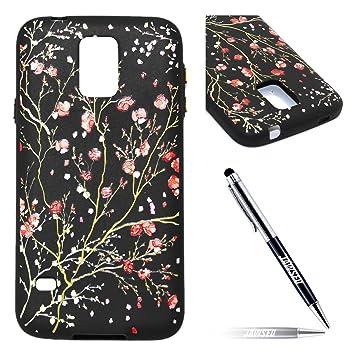 Funda Samsung Galaxy S5 neo, Carcasa Samsung Galaxy S5, JAWSEU Samsung Galaxy S5 i9600 Tapa Trasera Nergo Silicona Floral Alivio Protectivo ...