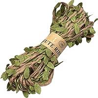 32,8 voet 4 laags natuurlijk jute touw, met groene bladeren, Jute String Arts&Crafts touw, Jute touw lint voor het…