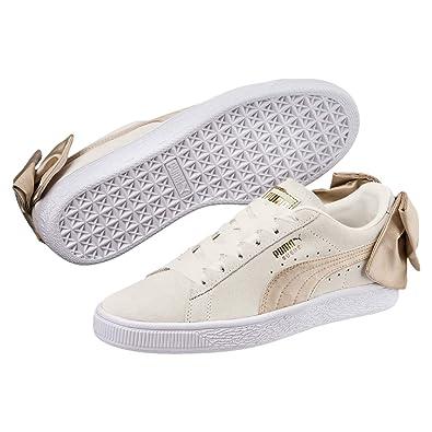 PUMA Women s Suede Bow Varsity Sneaker Marshmallow-Metallic Gold 5.5 ... 85f00cbd9