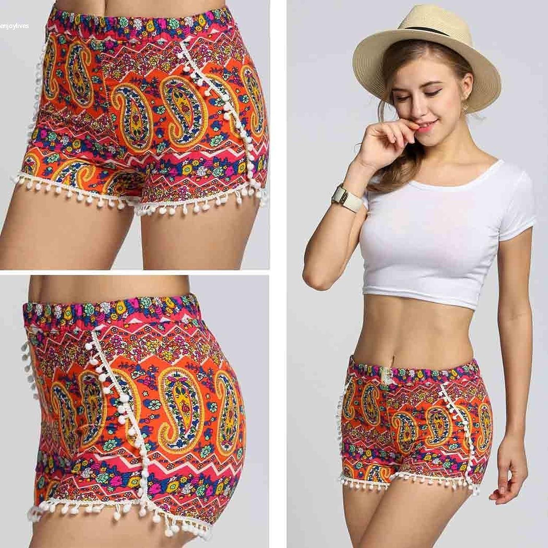 Qearl Women's Summer Casual Elastic Waist Floral Print Tassel Beach Shorts Pants