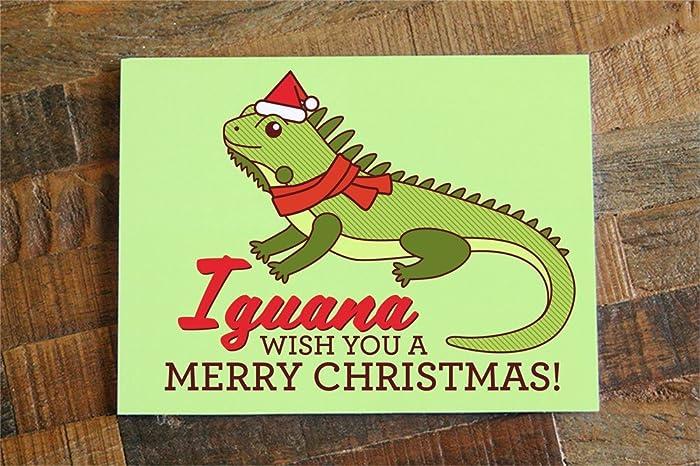 Merry Christmas Puns.Iguana Pun Christmas Card Iguana Wish You A Merry Christmas