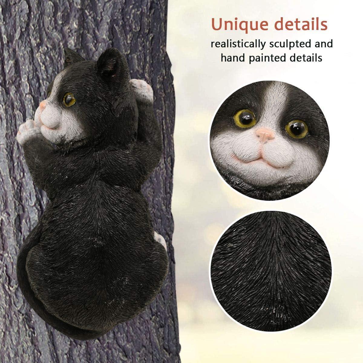 Black Cat Gifts and Garden D/écor Statue Face for Trees 9 x 4.7 inch LIMEIDE Cat Tree Hugger Tree Garden Peeker Polyresin Outdoor Tree Sculpture