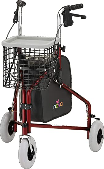 "NOVA Traveler 3 Wheel Rollator Walker, All Terrain 8"" Wheels, Includes Bag,  Basket and"