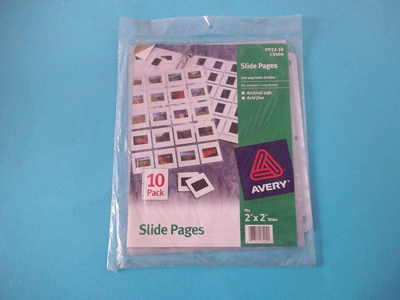 Avery Slide Pages PP22-10 13404 20 Slides Per Page Fits Standard 3 Ring Binders Archival Safe Acid Free 10 Pack [並行輸入品]