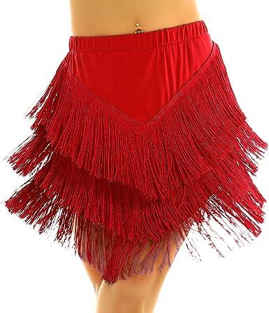 ranrann Falda de Baile Latino Flecos para Mujer Vestido de Tango ...