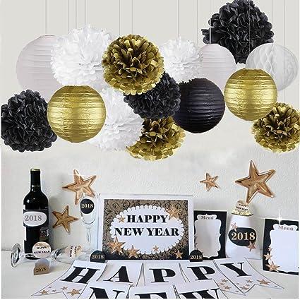 Amazon.com: Feliz Año Nuevo Decoraciones de fiesta negro oro ...