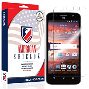 [USA] ZTE Maven / Overture 2 (2015) Screen Protector, American Shieldz Full Coverage Screen Edge-to-Edge, HD Clear Anti-Bubble, Lifetime Replacements