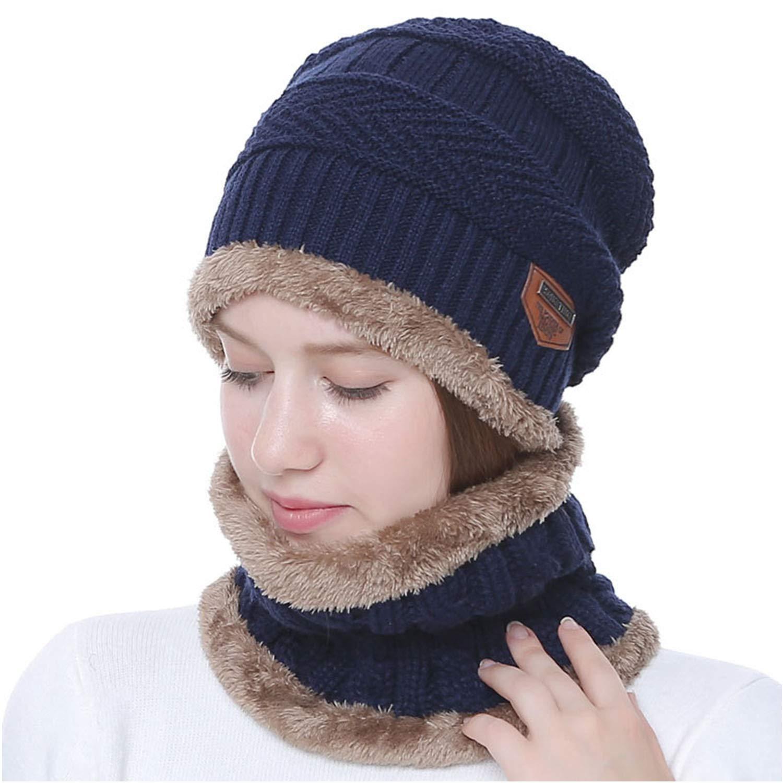 SZSMART Bonnet Chapeau Chaud Tricot et /Écharpe avec Doublure Polaire Hiver Homme Femme Chapeau Beanie Chaud /Écharpe 2Pcs