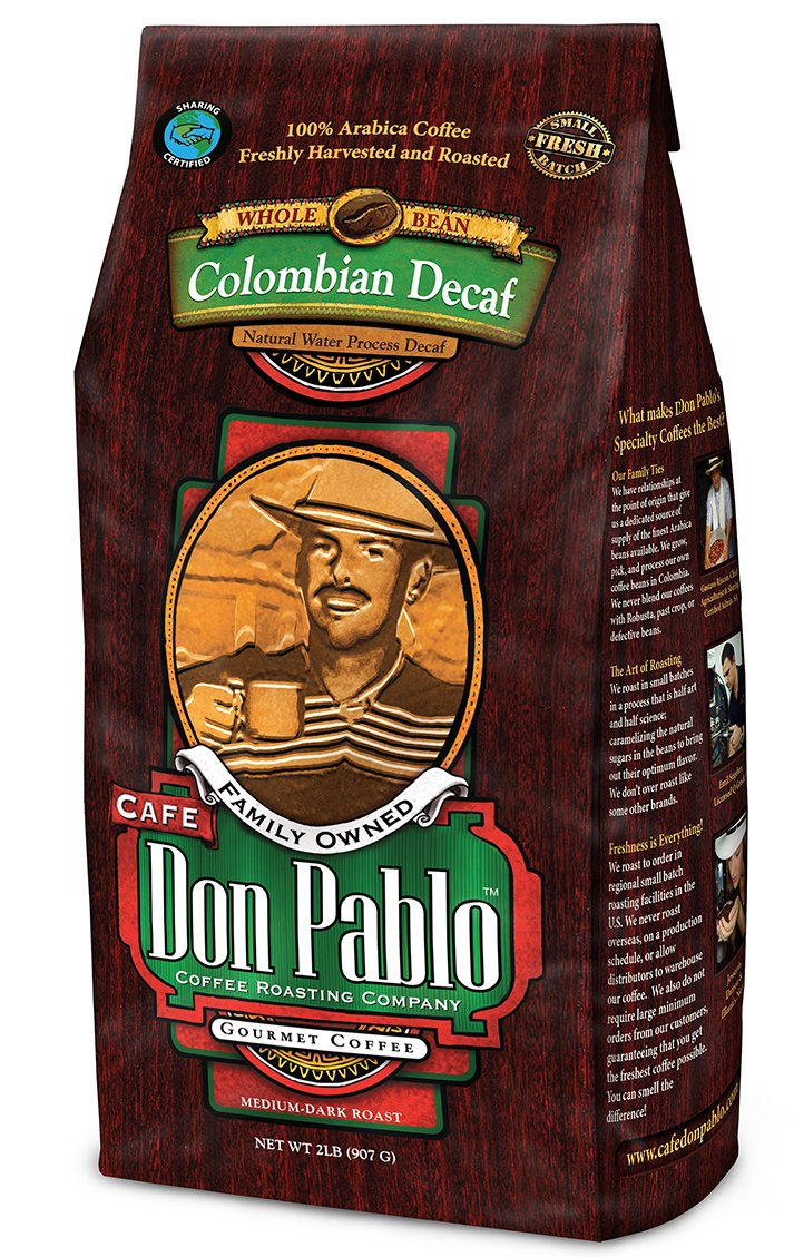2LB Cafe Don Pablo Decaf Swiss Water Process Colombian Gourmet Coffee Decaffeinated - Medium-Dark
