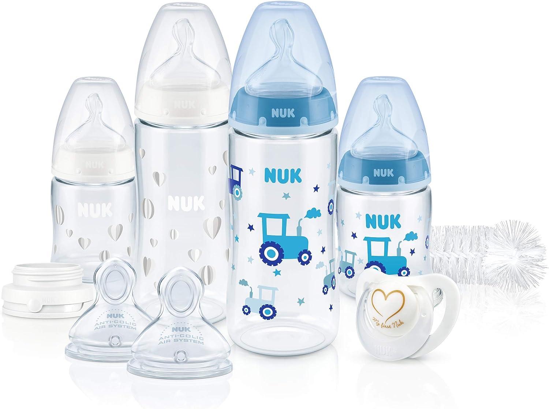 NUK Perfect Start First Choice Set de 4 Biberons avec Contr/ôle de Temp/érature//Sucette//Goupillon /à Biberon plus d/'Autres Accessoires sans BPA Gris//Blanc 0-6/Mois 10 Unit/és