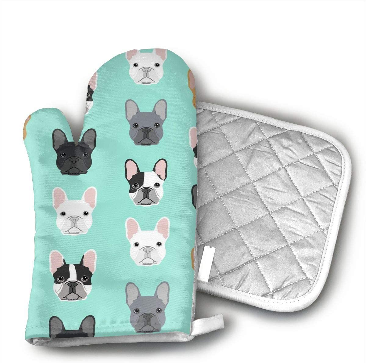 QEDGC French Bulldog Sweet Dog Puppy Puppies Dog Oven Mitts of Quilted Cotton Lining - Heat Resistant Kitchen Gloves,Flame Oven Mitt Set