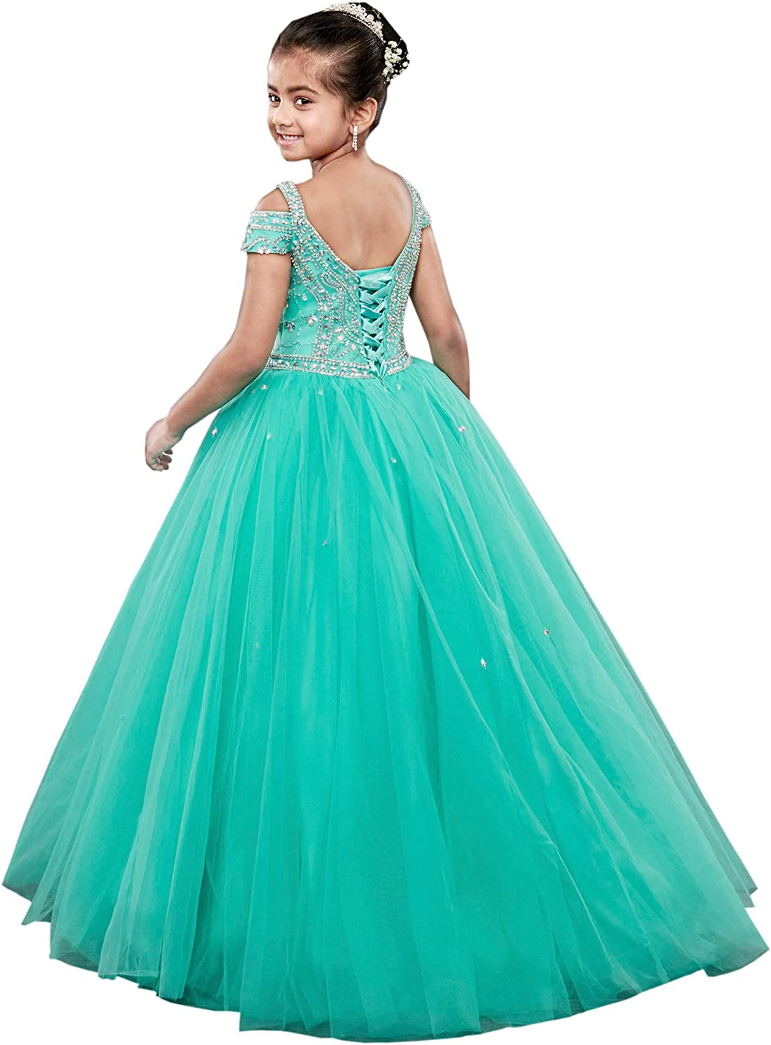 DommyDesign Bling Pageant Dress Cold Shoulder Rhinestones Princess with Sleeves Beaded Formal Prom Dress for Kids 2019