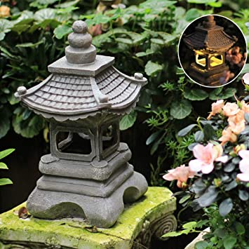 Estilo Japonés Al Aire Libre Solar Zen Garden Lights Linterna Pagoda Light Solar Garden Lamp Statue FarmhouseBalcony Creative Decoration Lamp -17 * 34cm Grey: Amazon.es: Bricolaje y herramientas