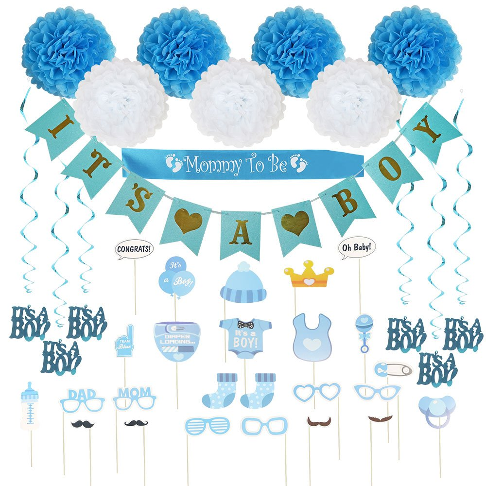 Baby Shower Decorations 40 pcs Kit for Boy | Assembled Banner | Party Photo Booth Props | Blue & White Flower Tissue Pom Poms | Swirls | Mommy To Be Sash | New Cute Design All in One Set Ready to Use