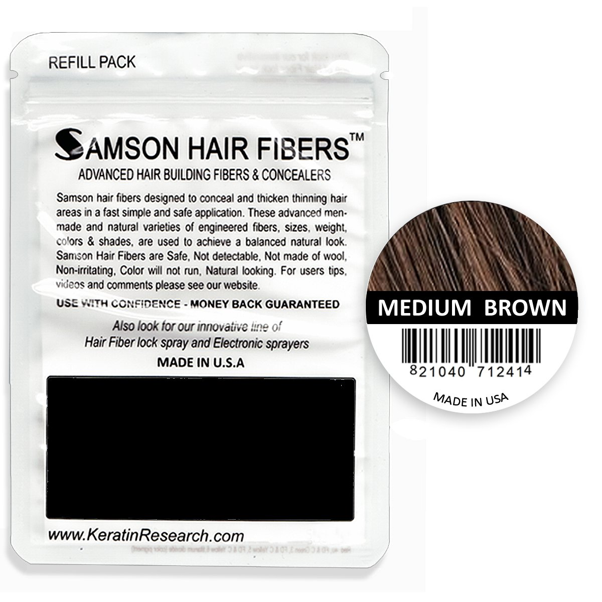 Refillable Container Hair Fibers by Samson, Medium Brown 25gr, Hide Hair Loss Concealer Building Fibers, Hide Hair Transplant Concealer Coverage, Refillable Container for all brand names