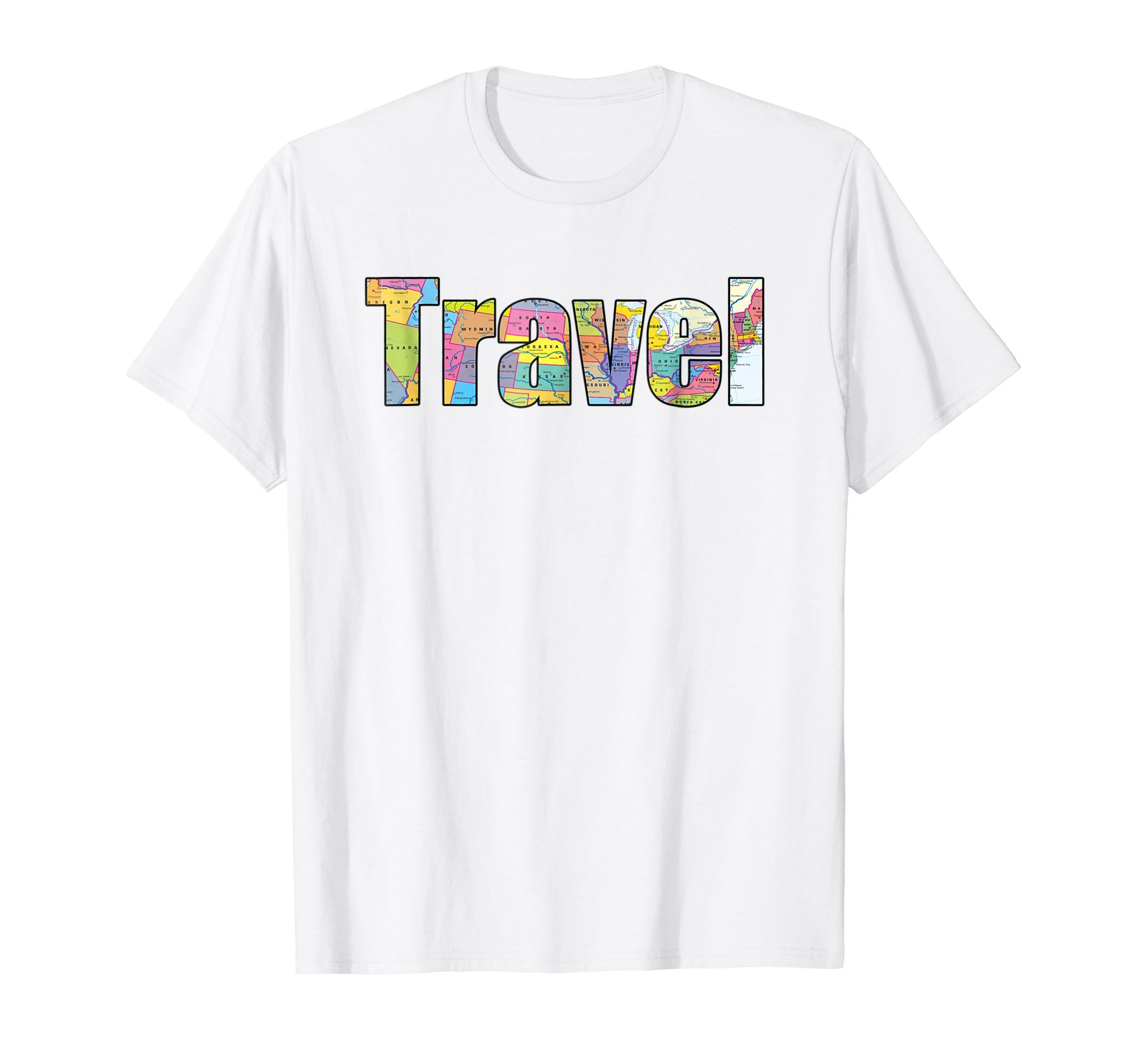 Travel T-Shirt US Map for Car Trips, Travel Agents, Teachers