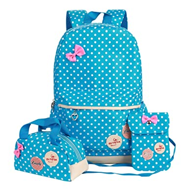 Amazon.com | Polka Dot 3pcs Kids Book Bag Purse School Backpack ...