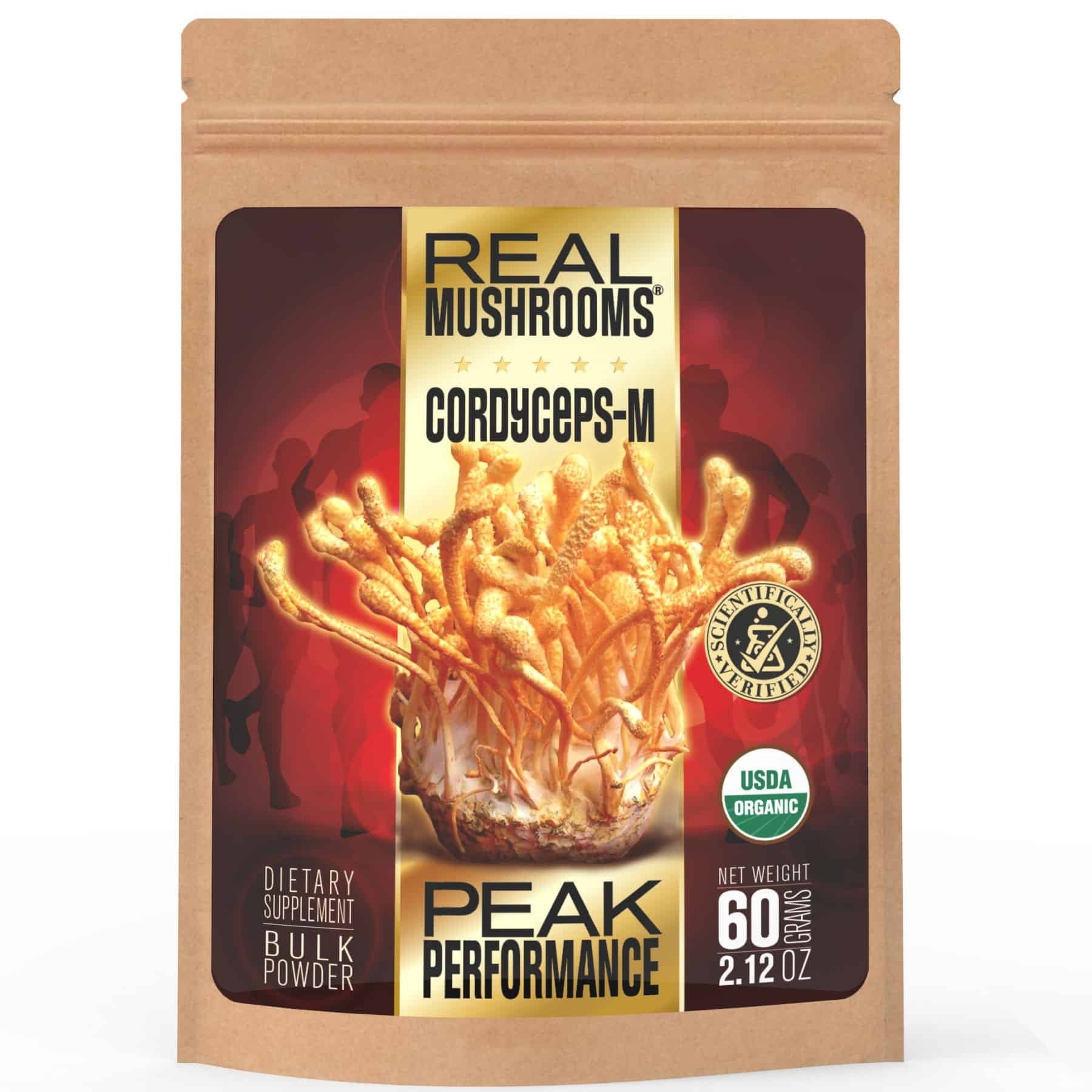 Cordyceps Mushroom Extract Powder by Real Mushrooms - Certified Organic - 60g Bulk Cordyceps Mushroom Powder - Perfomance - Recovery - All-Day Energy - Perfect for Shakes, Smoothies, Coffee and Tea