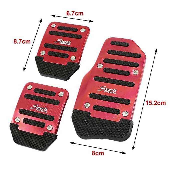 3 Pc Negro Rojo Metal Y Plástico Antideslizante tapa Pedal para coche: Amazon.es: Coche y moto