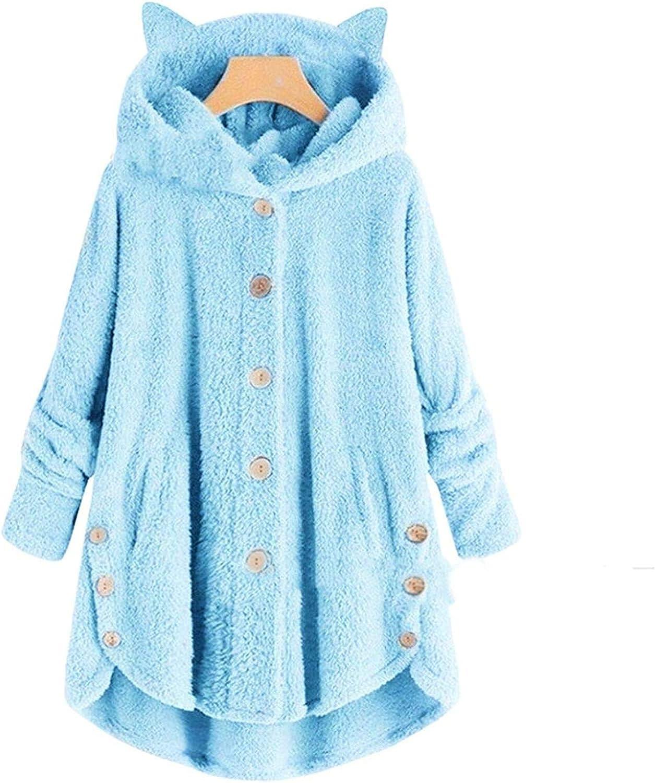 Giacche in pelliccia sintetica con cappuccio e orecchie di gatto peluche leopardato finto peloso lungo cappotto rosa pelliccia top pelliccia taglia asiatica Blu