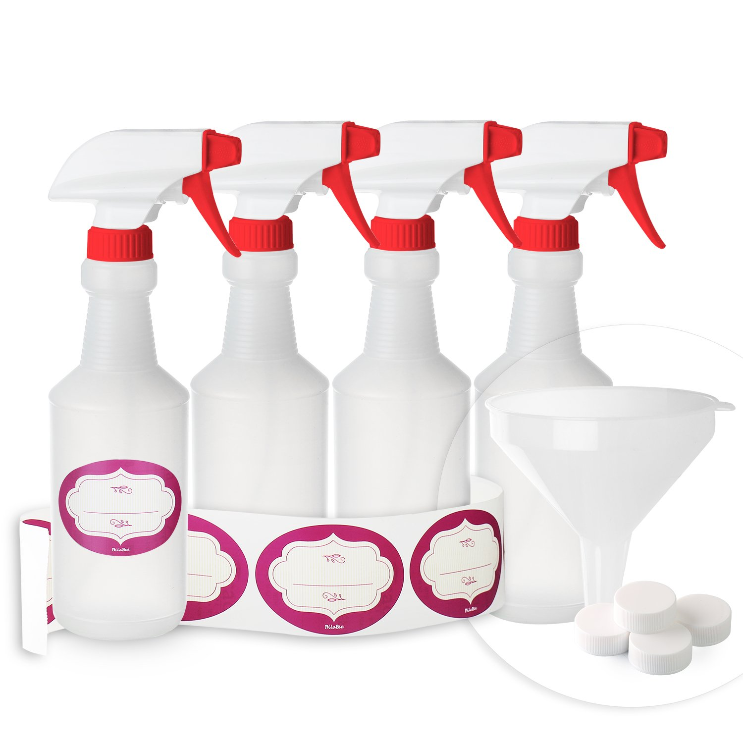 DilaBee Empty Plastic Spray Bottles Pack of 4 - Made in USA - 16 Oz. - 100% Leak Proof, Professional Heavy-Duty with Bonus Funnel, Caps and Labels! Multi Purpose Use (4)