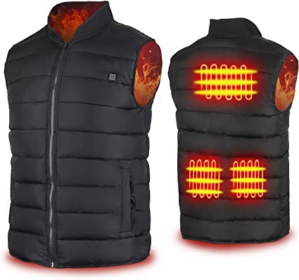Electric USB Heated Warm Vest Men Womens LED Heating Coat Jacket Skiing Clothing
