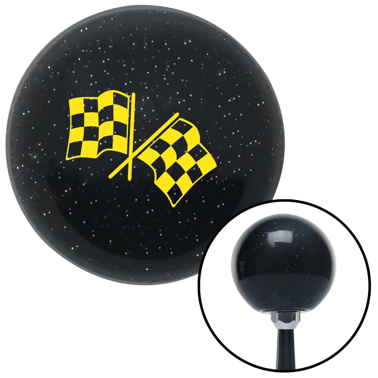 Yellow Checkered Flags American Shifter 73776 Black Metal Flake Shift Knob with M16 x 1.5 Insert