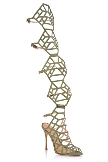 14a2d93d90e SCHUTZ Ananda New Bronze High Heel Adjustable Gladiator Convertable Caged  Sandal (7 B(M