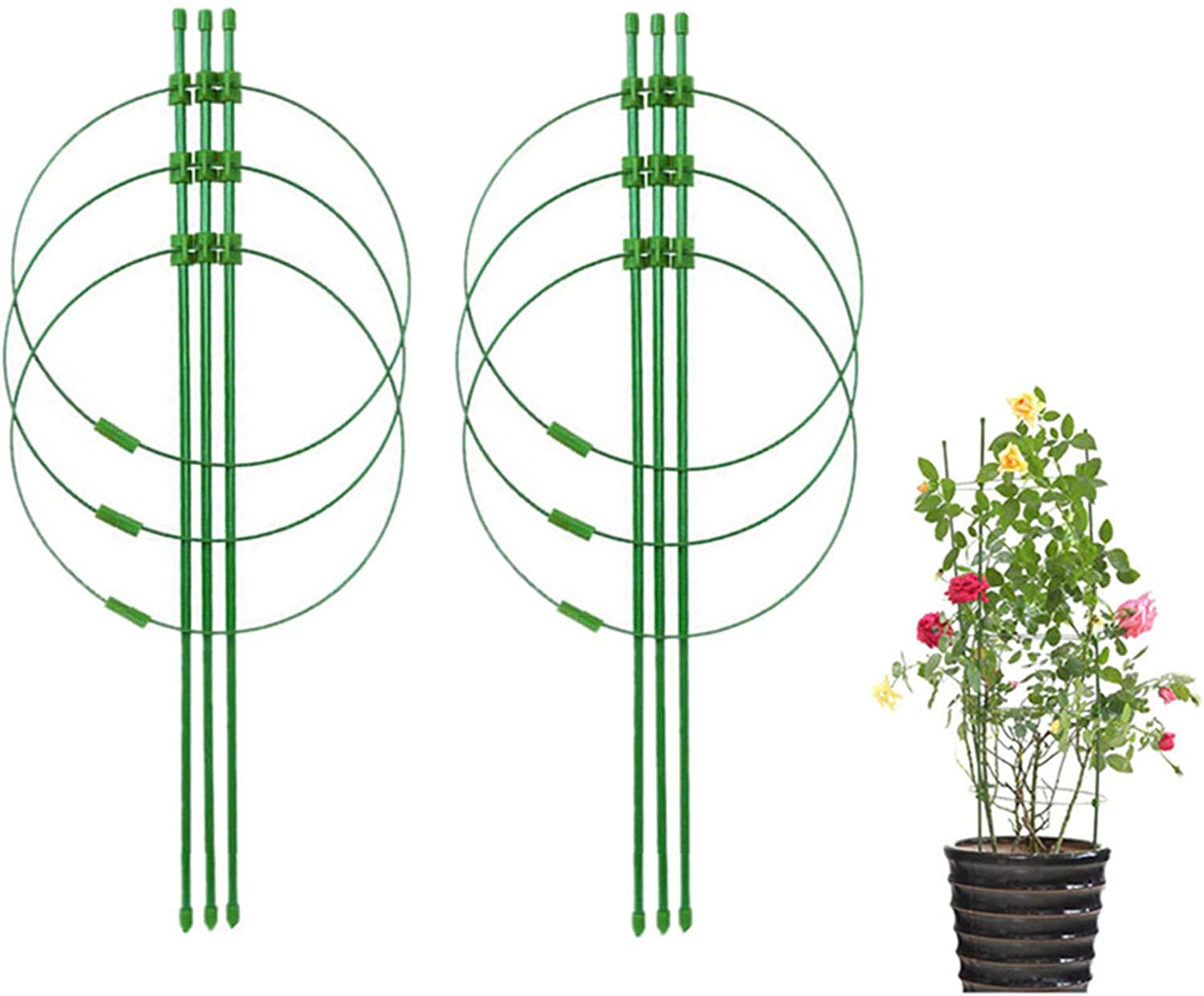 DoubleWood Plant Support Cages 18 Inches Plant Cages with 3 Adjustable Rings Vine Trellis Support Plants Holder Stand Small Pot Plant Trellis for Home Garden Balcony (2PACK)
