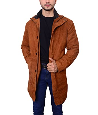 great prices nice shoes purchase cheap Abbraci Men's Classy Fur Collar Real Suede Leather Trench ...