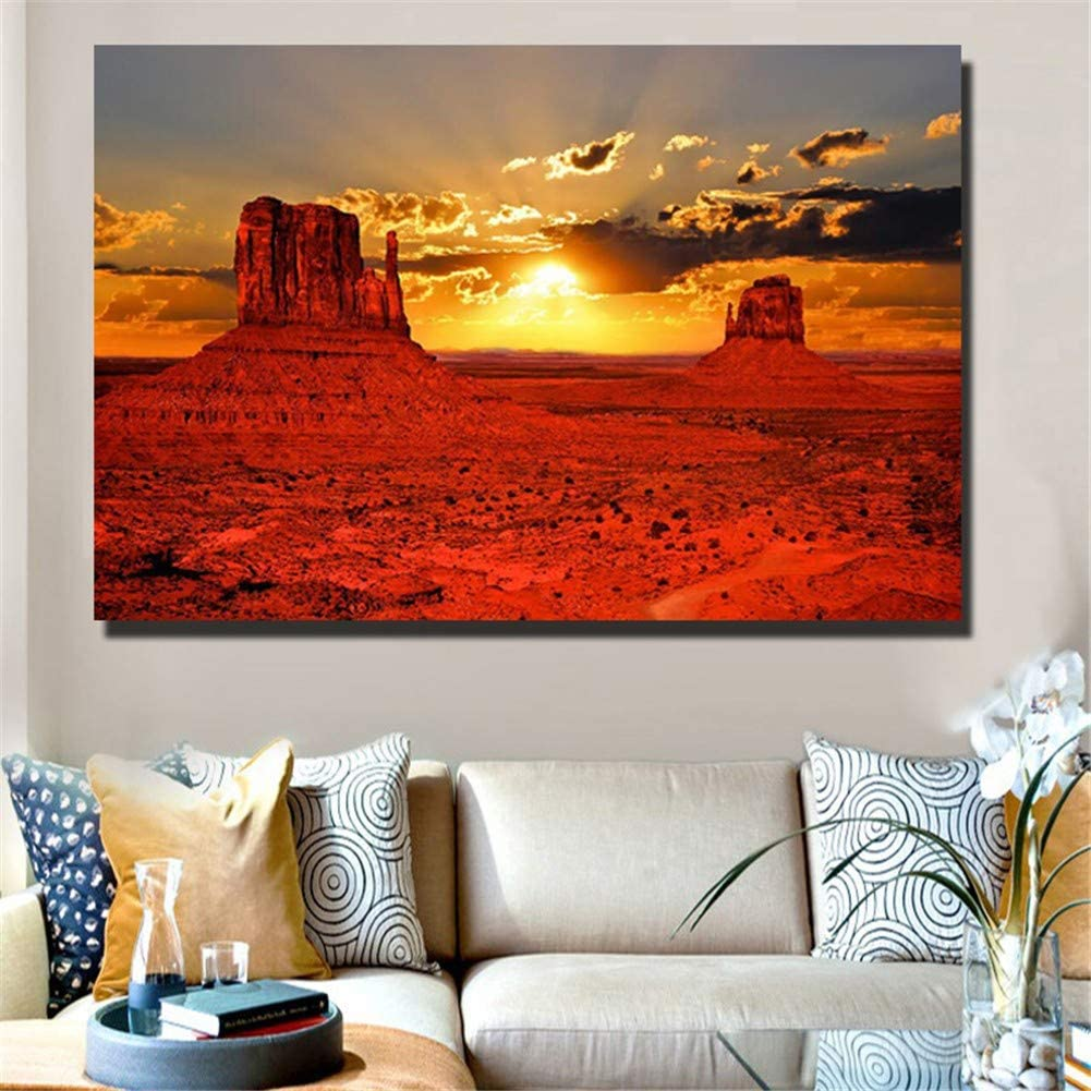 DIY 5D Kit de pintura de diamante Rui Shan Tower Sunset View taladro completo diamond painting Rhinestone Cristal Bordado de Punto de Cruz Arte cuadros Casa Decoración de La ParedRound Drill,40x80cm