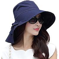 michealwu verano Bill solapa Cap UPF 50+ algodón sombrero de sol con cuerda de cubierta de cuello para mujer