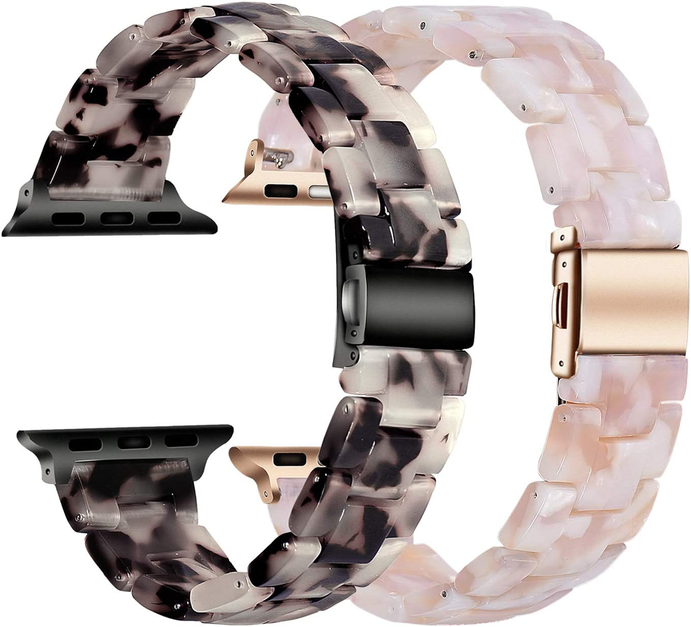 Wongeto Resin Watchband Compatible with Apple Watch Band 38mm 40mm Series 5/4/3/2/1 Women Men iWatch Replacement Wristband Strap - Grey+Flower Pink