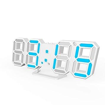 BeeViuc 3D LED Reloj Digital Reloj Despertador eléctrico Noche Ajustable para la Oficina de la Cocina en el hogar - Azul: Amazon.es: Hogar