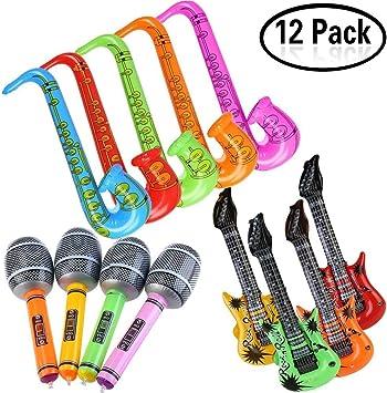 Yojoloin 12 UNIDS Inflables Guitarra Saxofón Micrófono Globos ...