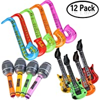 Yojoloin Jumbo 12PCS Inflatable Guitar Saxophone Microphone Balloons Fun Musical Instruments Accessories For Birthday Party Supplies Favors Photo Booth Props Random Color (12 PCS)