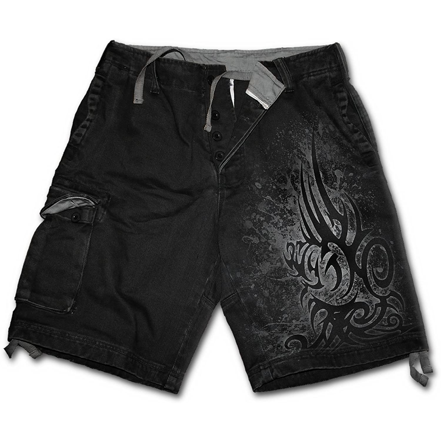 Home clothing mens clothing dragon furnace longsleeve t - Spiral Mens Stained Tribal Vintage Cargo Shorts Black L Amazon Com