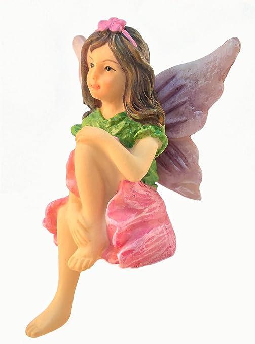 GlitZGlam Emma, el Hada sentada de jardín - Una Estatua de Hada en Miniatura para tu jardín de Hadas de Exterior o Interior: Amazon.es: Jardín